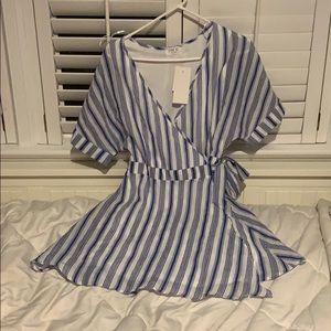 Blue Striped Wrap Dress